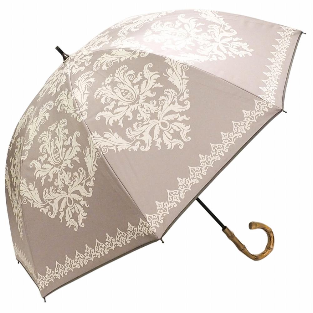 100%完全遮光 日傘/雨傘/晴雨兼用傘 ブラックコーティング 竹製ハンドル バンブーハンドル ショート傘 レース柄/ダマスク柄