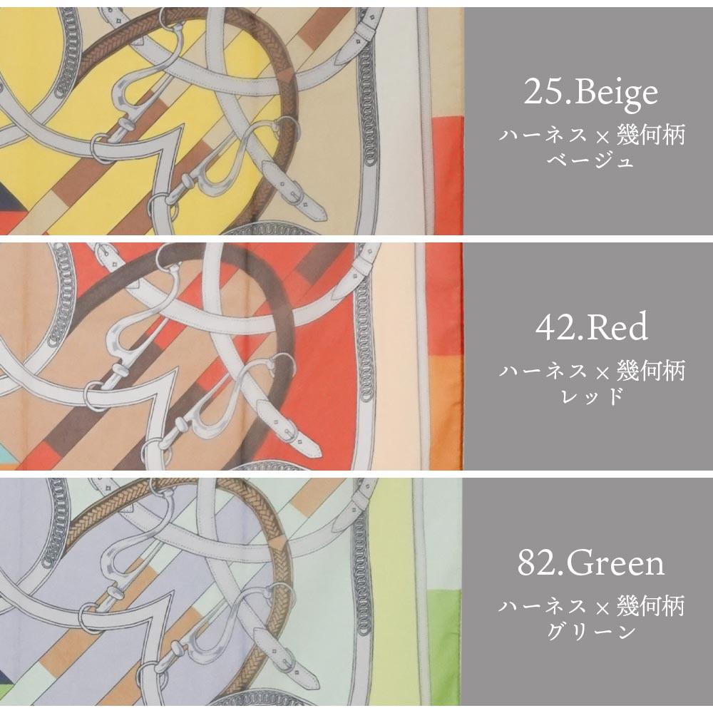 大判ポリシフォンスカーフ 88cm×88cm フラワーガーデン/ハーネス×幾何柄