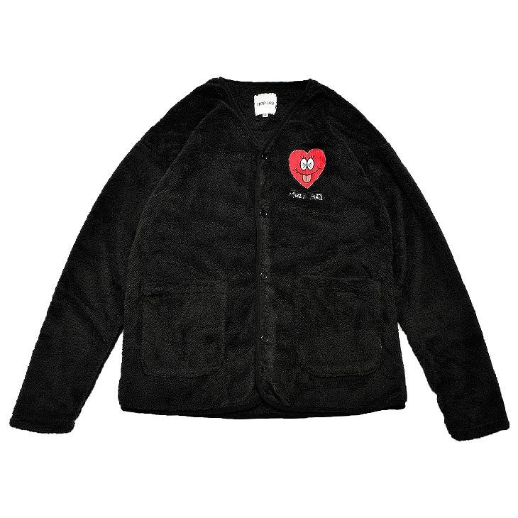 Heart Embroidery Fleece Cardigan