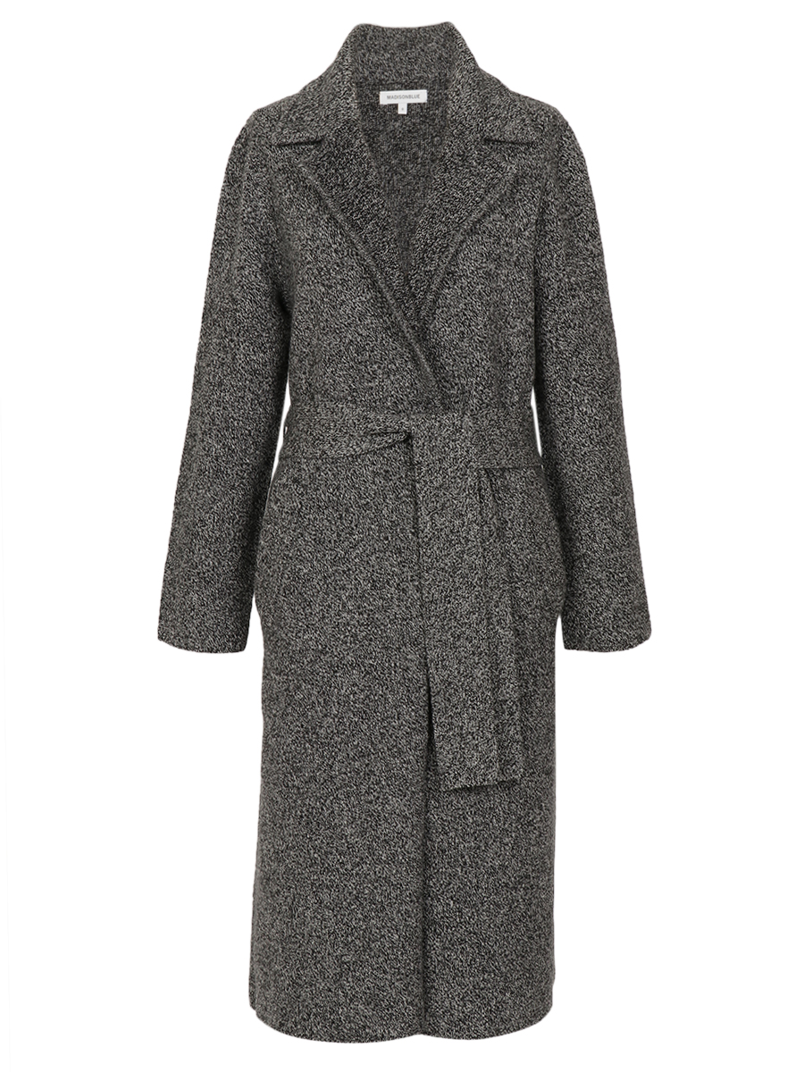 HEATHER BELTED KNIT COAT