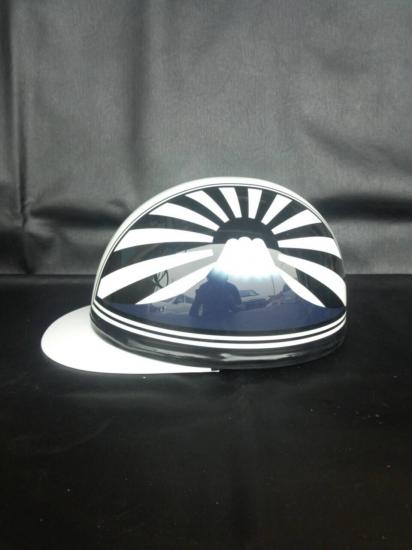 A-036◆富士日章コルクハン帽◆白×黒