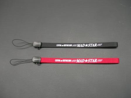 S-255◆汎用◆MAD★STAR携帯ストラップ◆ブラック