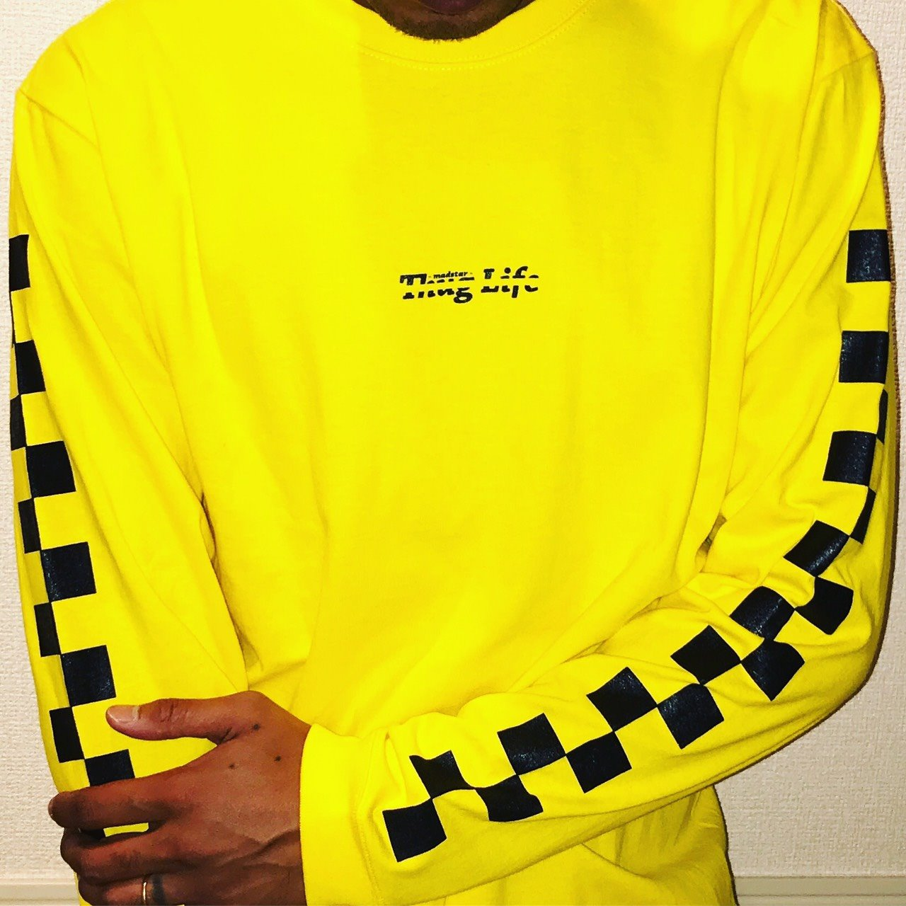 【新作】MS17LS001 MAD CHECKER FLAG SLEEVE LONG T-shirts