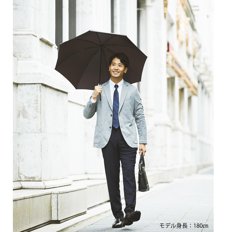 【紳士】ピンストライプ-折りたたみ-エンジ