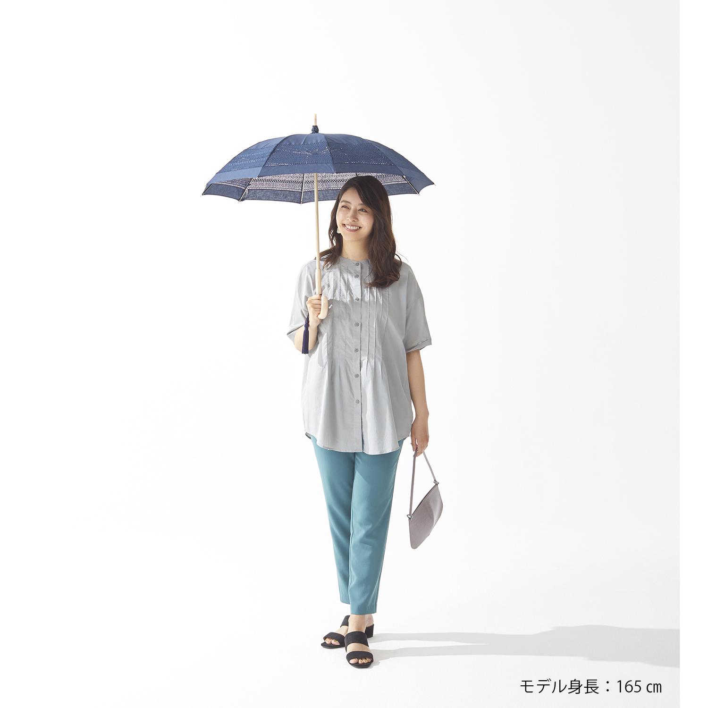 【婦人】日傘長-エンブロイダリーレース-2005-ネイビー