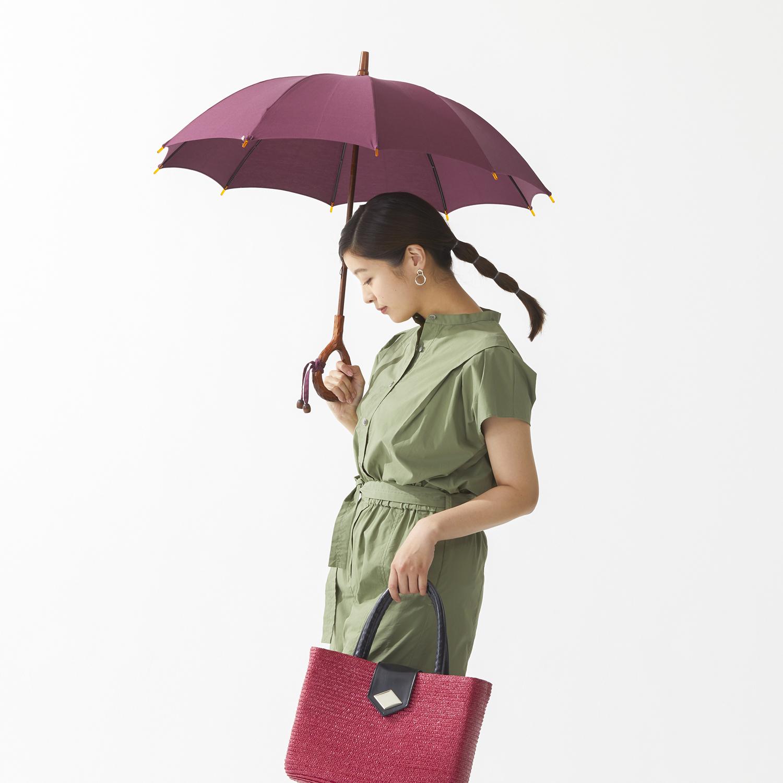 【婦人】日傘-インディアンヘッド-長-ダークマゼンタ