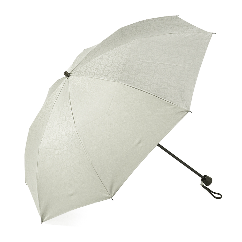 【婦人】晴雨兼用-一級遮光ペイズリー-折りたたみ-グレー