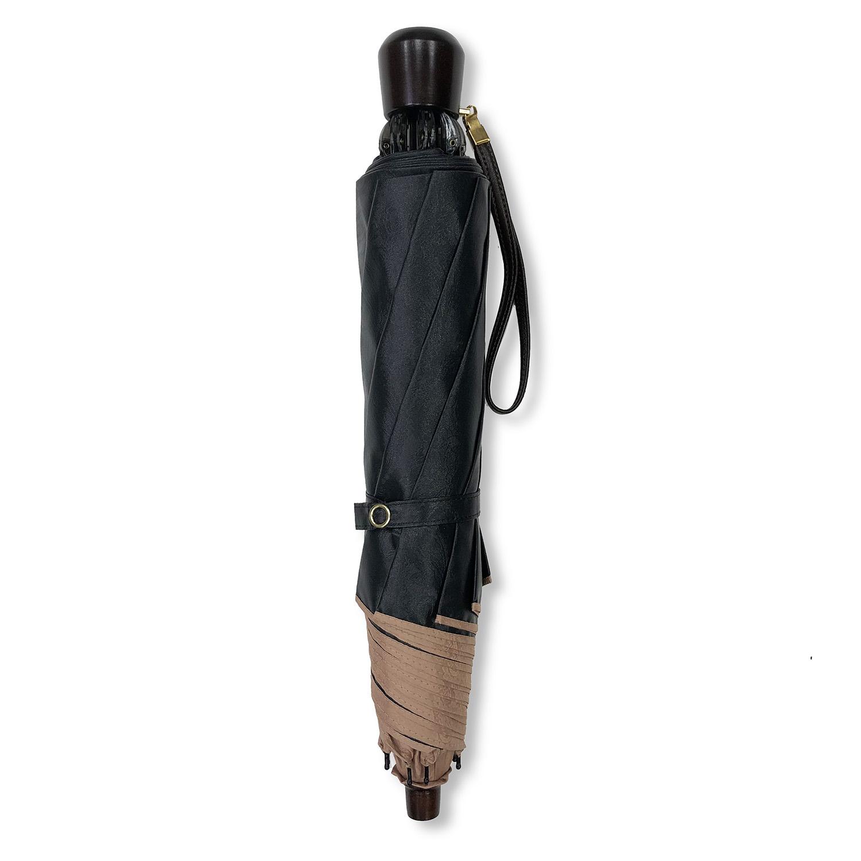 【婦人】晴雨兼用-一級遮光ペイズリー-折りたたみ-ライトブラウン