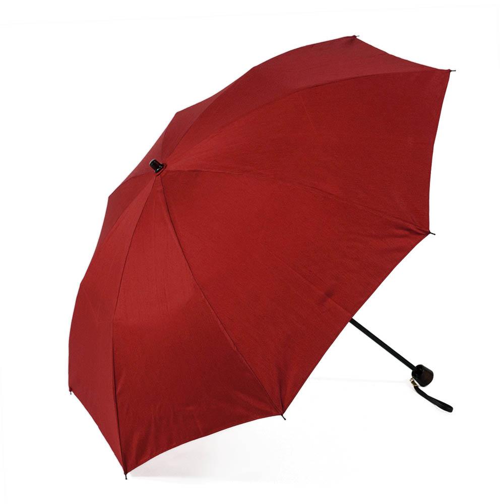 【婦人】晴雨兼用-シャンタン/50センチタイプ-折りたたみ-レッド