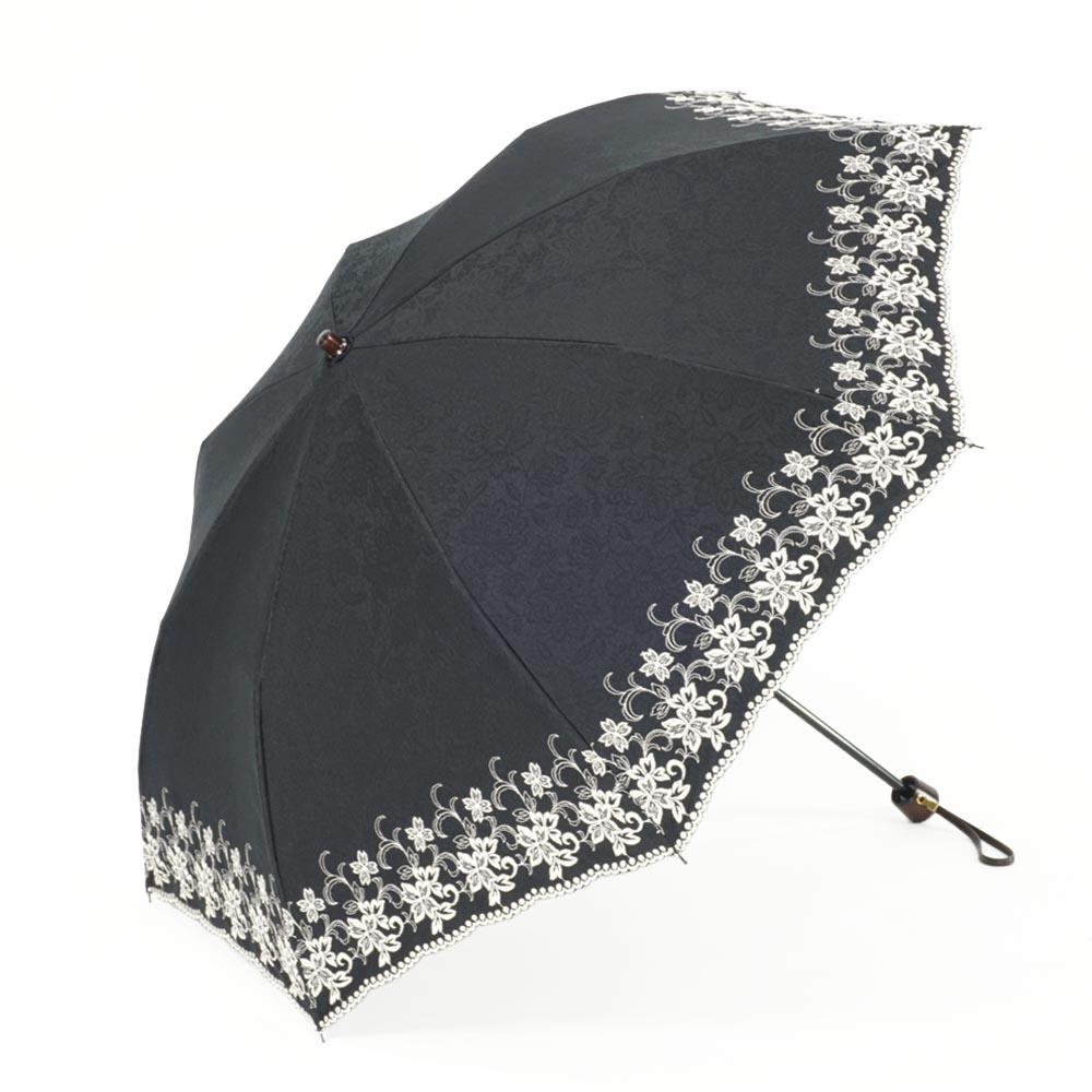【婦人】晴雨兼用-エンブロイダリ遮熱タイプ-折りたたみ-ブラック