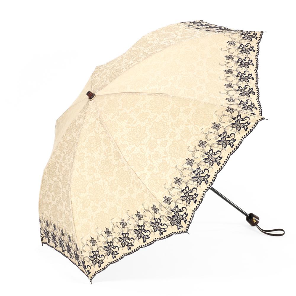 【婦人】晴雨兼用-エンブロイダリ遮熱タイプ-折りたたみ-ベージュ