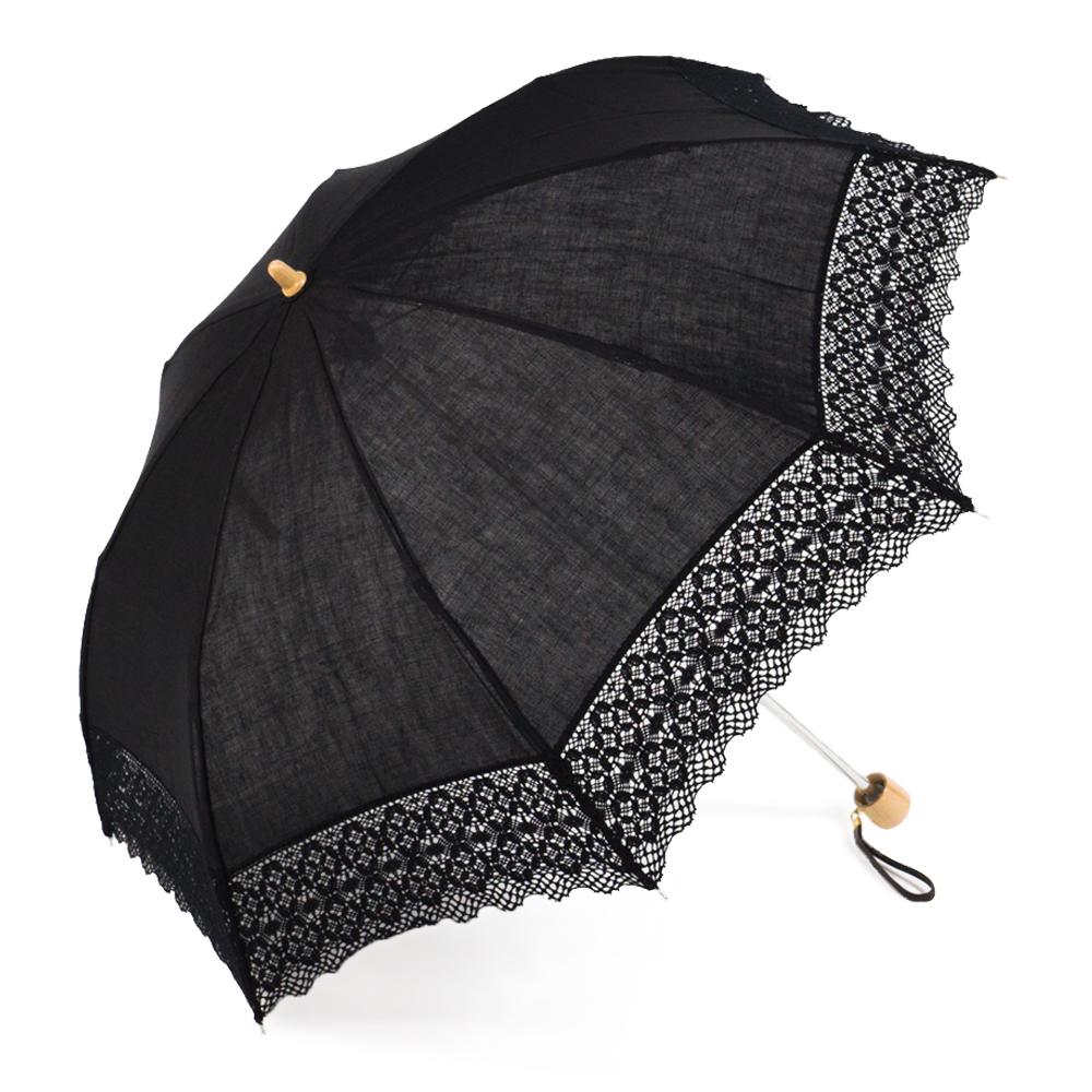 【婦人】日傘-麻トーションレース-1706-折りたたみ-ブラック