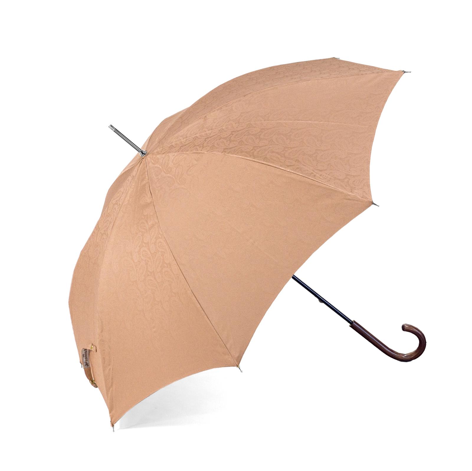 【紳士】晴雨兼用-一級遮光ペイズリー-長-ライトブラウン