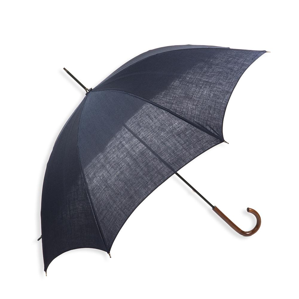 【紳士】日傘-麻-長-ネイビー