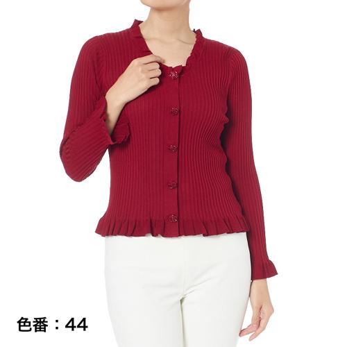 【銀座マギー】ローズボタンリブニットカーディガン[全4色]