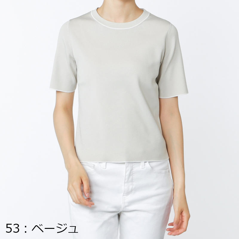 【OfSTYLE】ignes シンプル ライン デザイン 半袖 ニット[全3色]