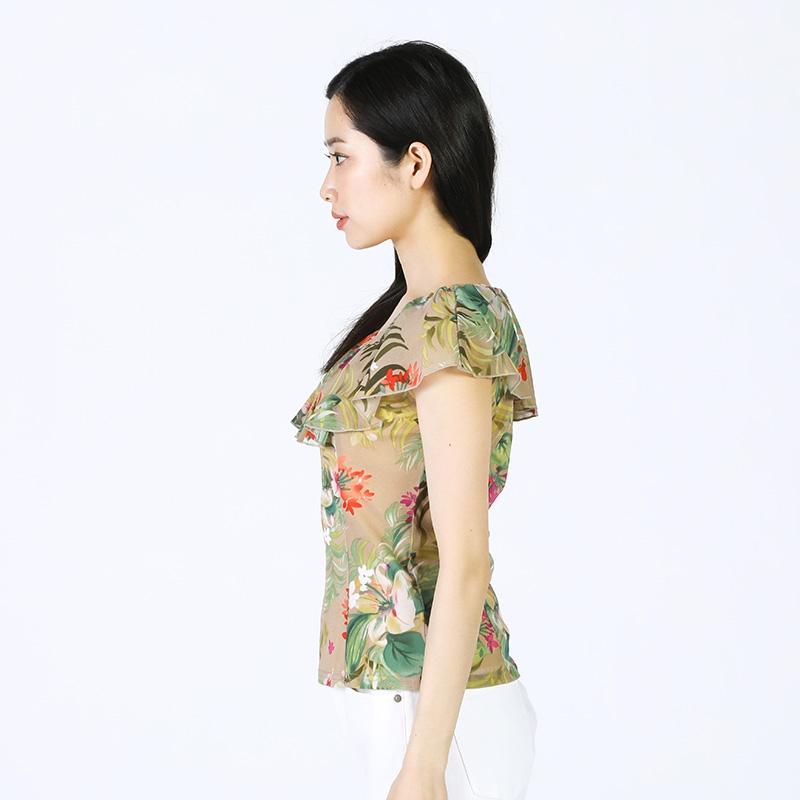 【銀座マギー】ボタニカル柄フリルショルダーブラウス[全2色]