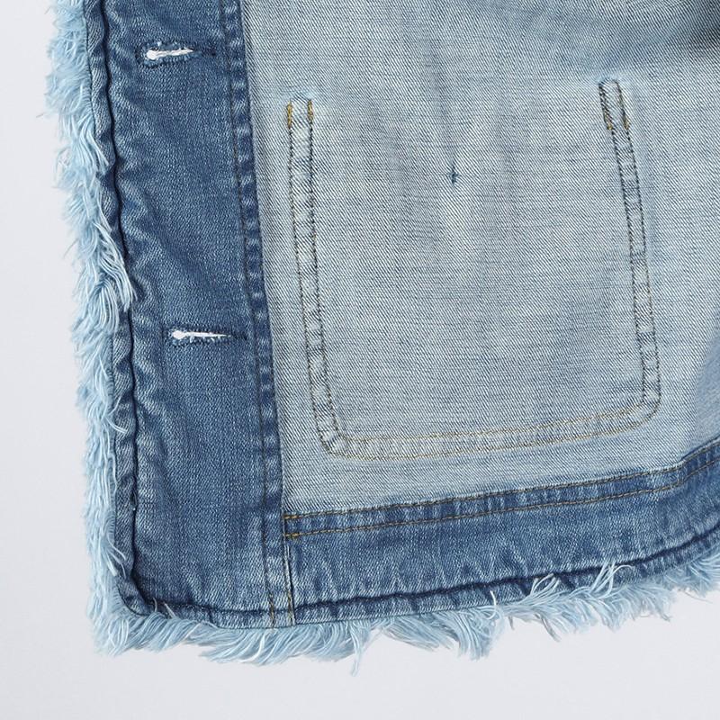 【銀座マギー別注】編込み&フリンジ使い7分袖ノーカラーデニムジャケット[全2色]