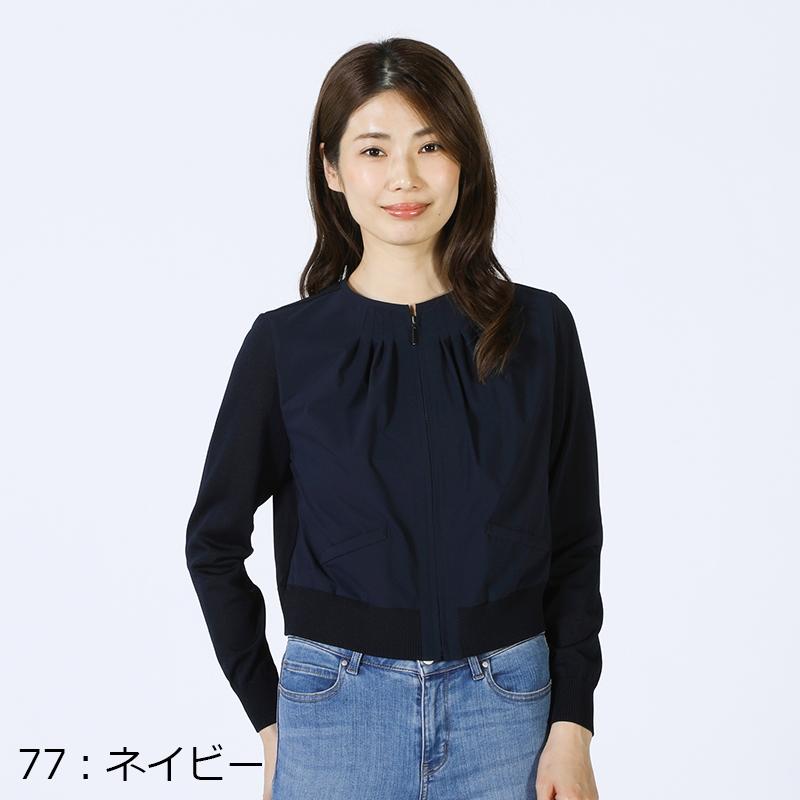 【銀座マギーオリジナル】ニット切り替えブルゾン[全3色]