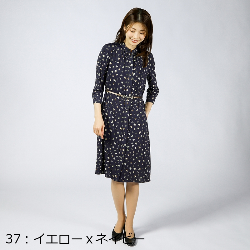 【銀座マギーオリジナル】BINDAオリジナル前ボタン プリントジャージーワンピース[全2色]