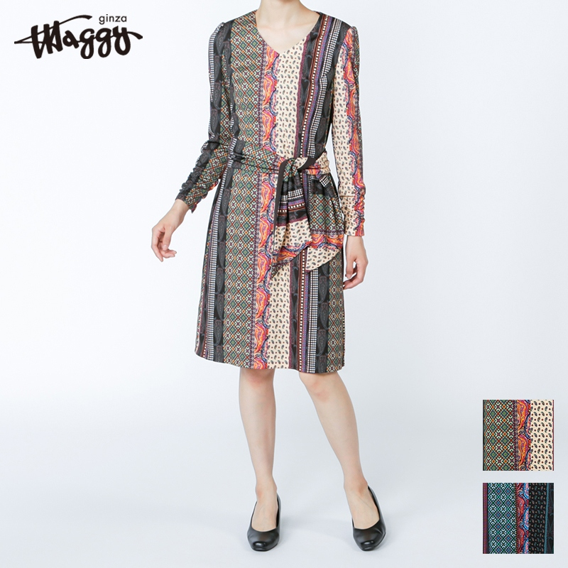 銀座マギーオリジナル/ミックスデザインジャージプリントワンピース[全2色]