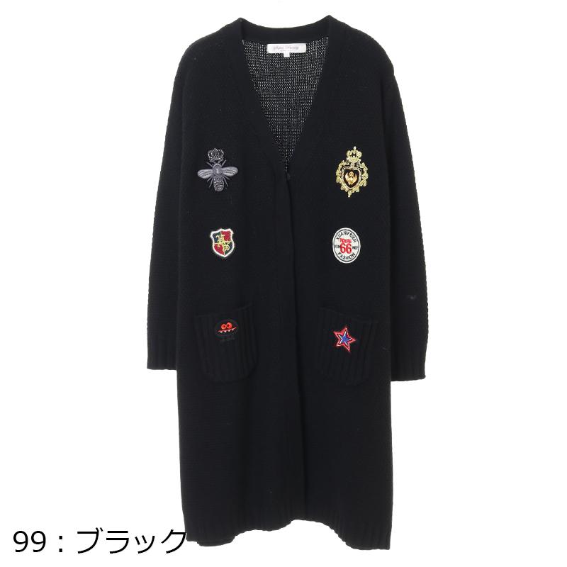 Super Beauty/ワッペン刺繍ニットカーディガン[全2色]