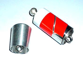 金属製バニシングケーン:紅白※