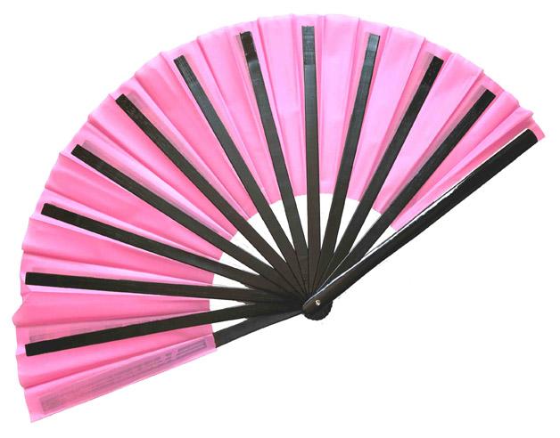 扇子(チャイニーズ扇子)ピンク色 柄:黒