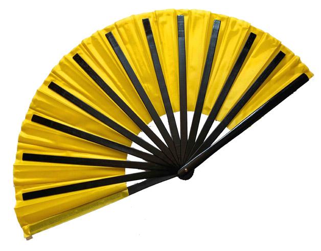 扇子(チャイニーズ扇子)黄色 柄:黒