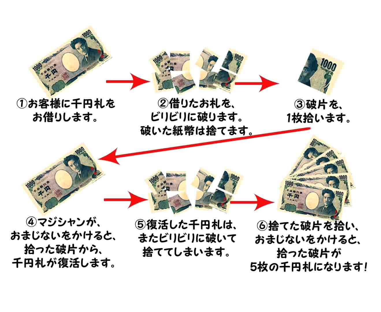【マジック3オリジナル】千円札の復活ルーティーン by TOMMY