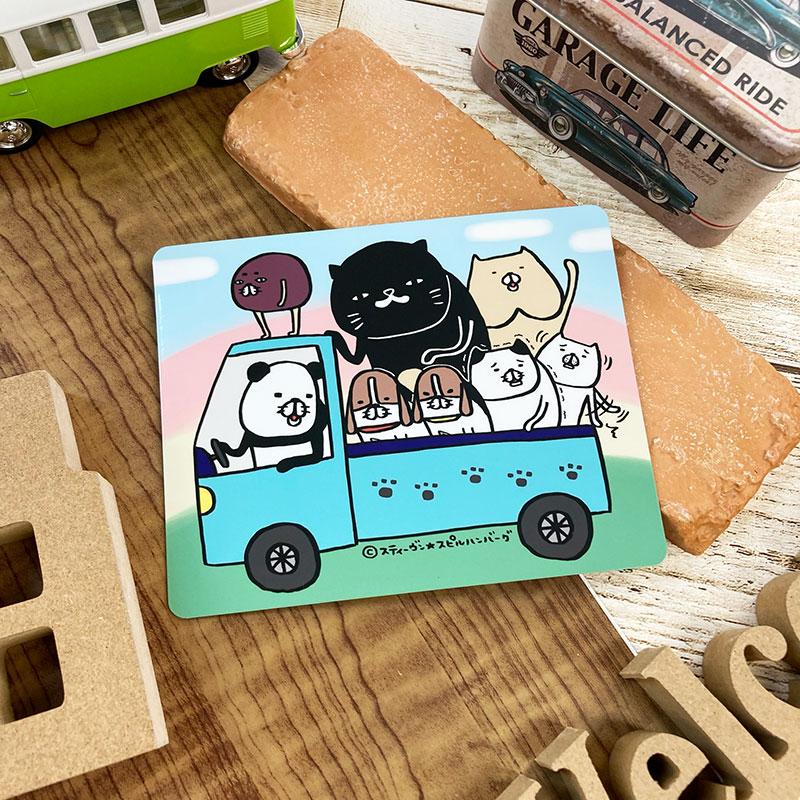 【パンダと犬】描き下ろし!車マグネットステッカー 犬たちと猫たち トラック【ゆうパケット対応商品】