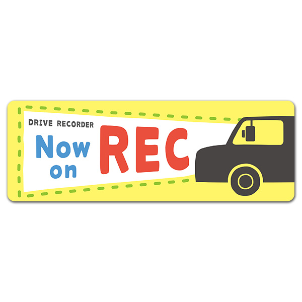 反射マグネットステッカー ポップ太文字 ヘッドライト DRIVE RECORDER【Now on REC】スリム型車マグネットステッカー【ゆうパケット対応商品】