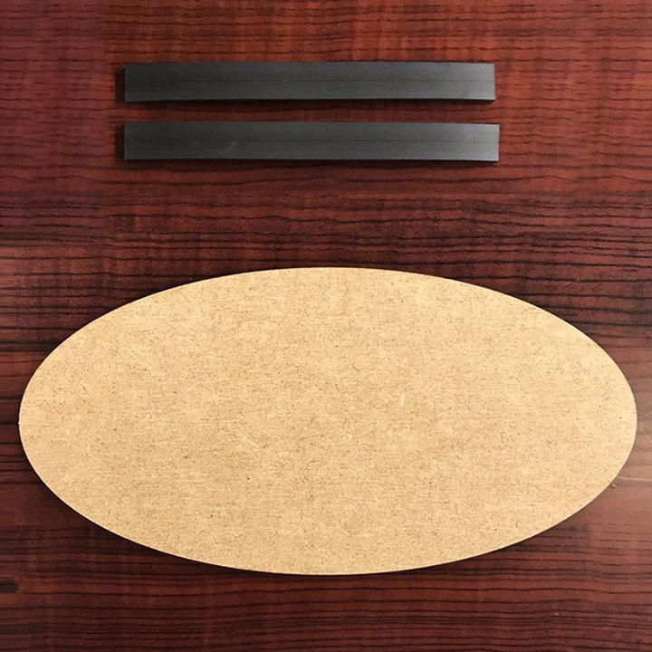 木製工作プレート 楕円形【マグネットベルト付き】【ゆうパケット対応商品】