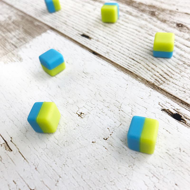 デザインマグネットピン マグネットキューブ【メロンソーダ】緑×青【ゆうパケット対応商品】