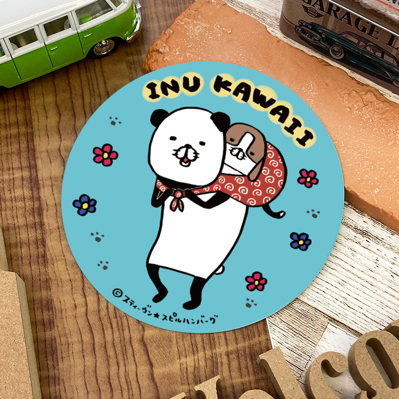 【パンダと犬】描き下ろし!車マグネットステッカー 丸型15cm【INU KAWAII】パンダと梅吉 おんぶ【ゆうパケット対応商品】