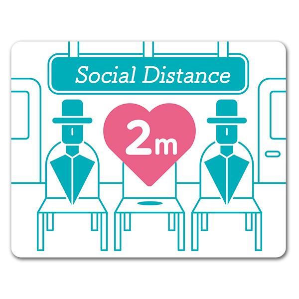 サインマグネットステッカー ソーシャルディスタンス【social distance】2m 室内 玄関ドアお知らせマグネット【ゆうパケット対応商品】