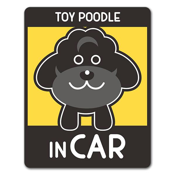 トイプードル テディベアカット 選べる毛色全3種【TOY POODLE IN CAR】車マグネットステッカー【ゆうパケット対応商品】