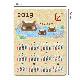 2019年マグネットカレンダー 干支亥年デザイン イノシシの親子 温泉【ゆうパケット対応商品】
