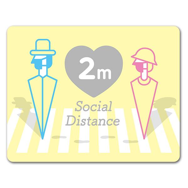サインマグネットステッカー ソーシャルディスタンス【social distance】2m 屋外 玄関ドアお知らせマグネット【ゆうパケット対応商品】