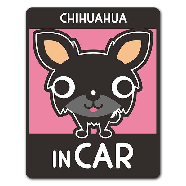 チワワ ロングコート 選べる毛色全3種【CHIHUAHUA IN CAR】車マグネットステッカー【ゆうパケット対応商品】