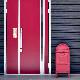 サインマグネットステッカー ポムポムプリン ペット案内【犬がいます】スリム型 玄関ドアお知らせマグネット【ゆうパケット対応商品】