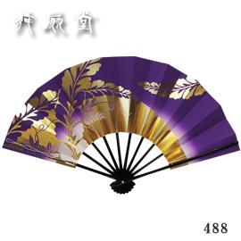★【舞扇子】『雪月花488(藤花・紫/黒塗骨)』