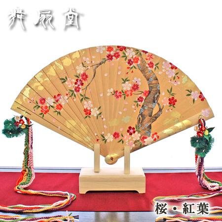 ★【在庫1点あり】手描き檜扇 (表:桜、裏:紅葉)