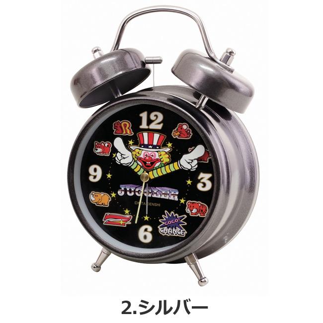 ジャグラー グッズ サウンド 目覚し時計 メタリックVer 光る 蓄光 置時計 ゴールド シルバー レッド