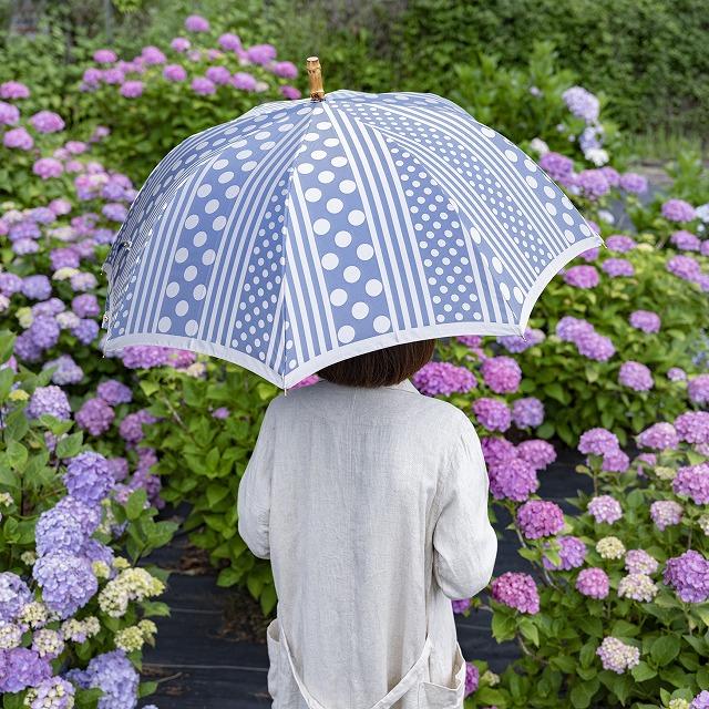 【晴雨兼用雨傘】kirie ドットとストライプ(アッシュブルー)