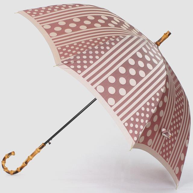 【晴雨兼用】kirie ドットとストライプ(アンティークボルドー)