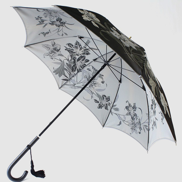 【晴雨兼用】絵おり 百合 黒