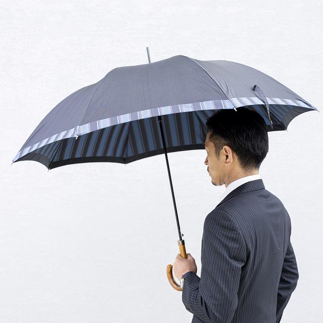 【紳士雨傘】Tie Plain×Stripe D・NAVY