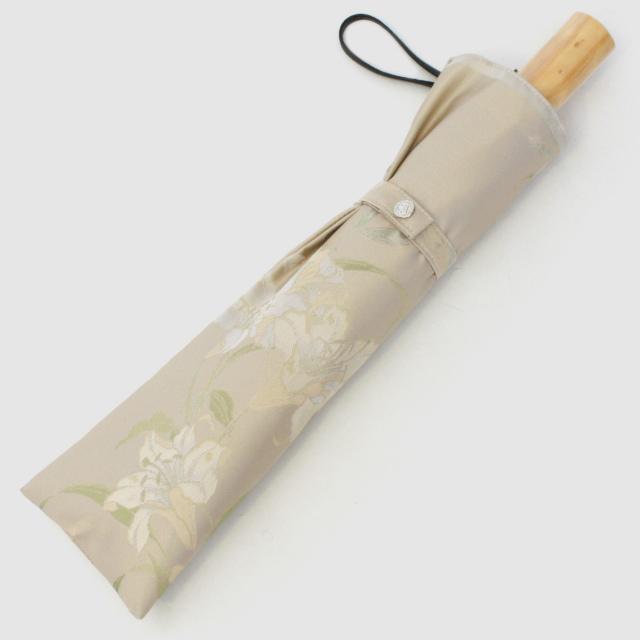 【晴雨兼用折りたたみ傘】絵おり  百合 ベージュ