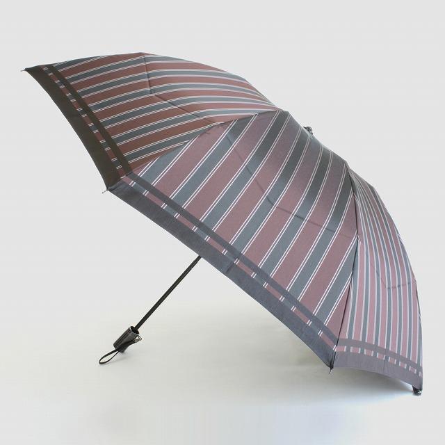 【紳士折りたたみ雨傘】Tie Stripe×Plain WINE